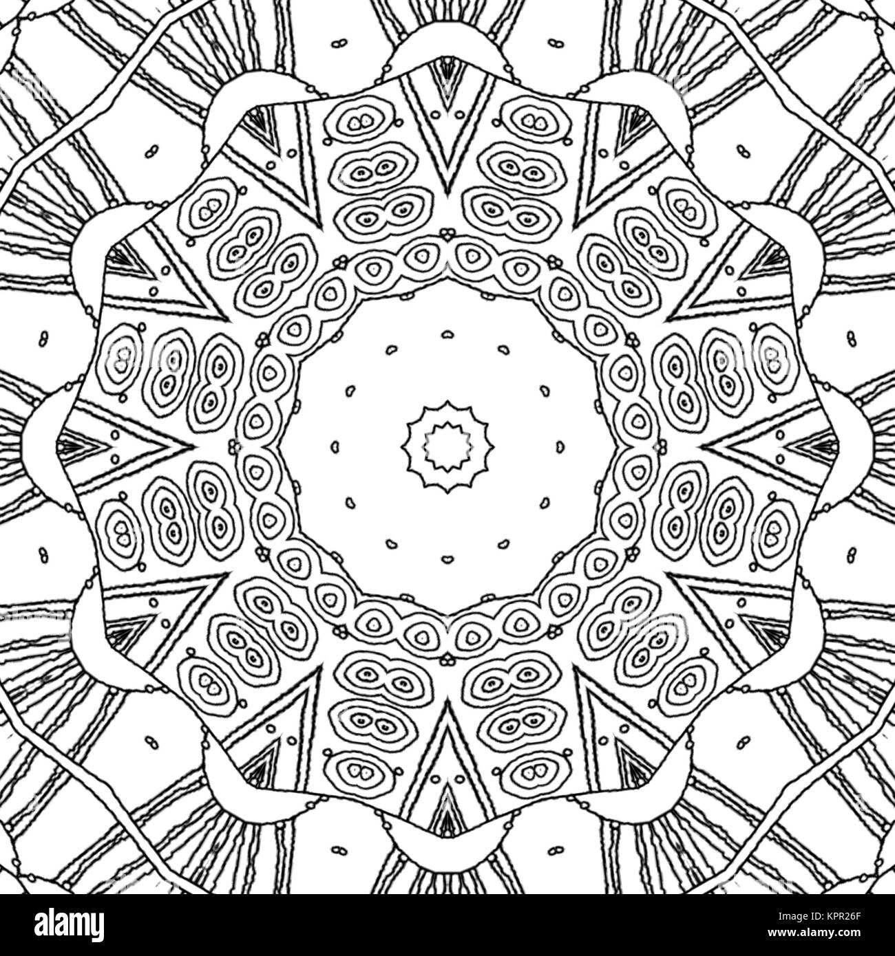 Abstract seamless coloring page. Monochrome mandala with concentric ...