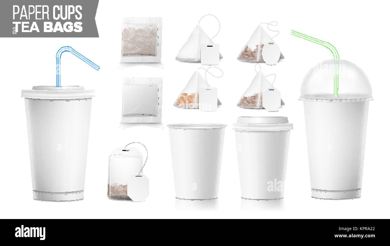Disposable Paper Cups And Tea Bags Set Vector Plastic Covers Take Out Soft Drinks Cup Template Open Closed Blank
