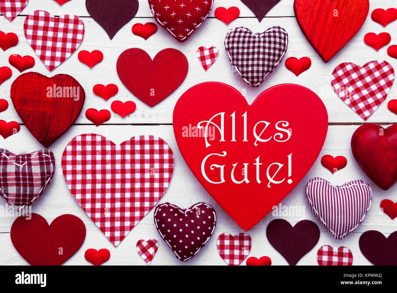 Red Heart Texture With German Text Alles Gute Means Best Wishes