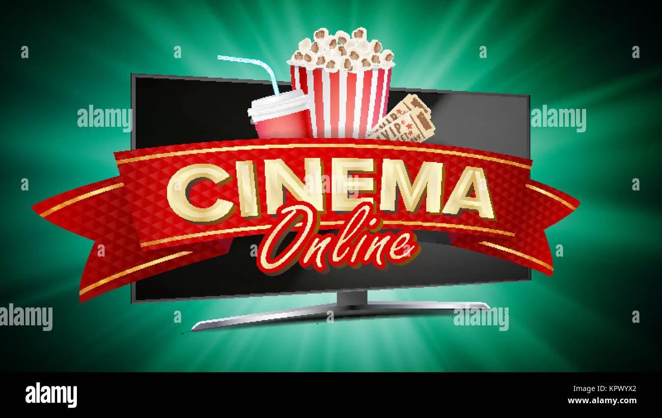 online cinema banner vector realistic computer monitor movie stock
