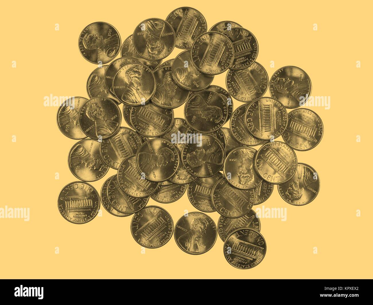 Dollar coins 1 cent wheat penny cent - vintage Stock Photo