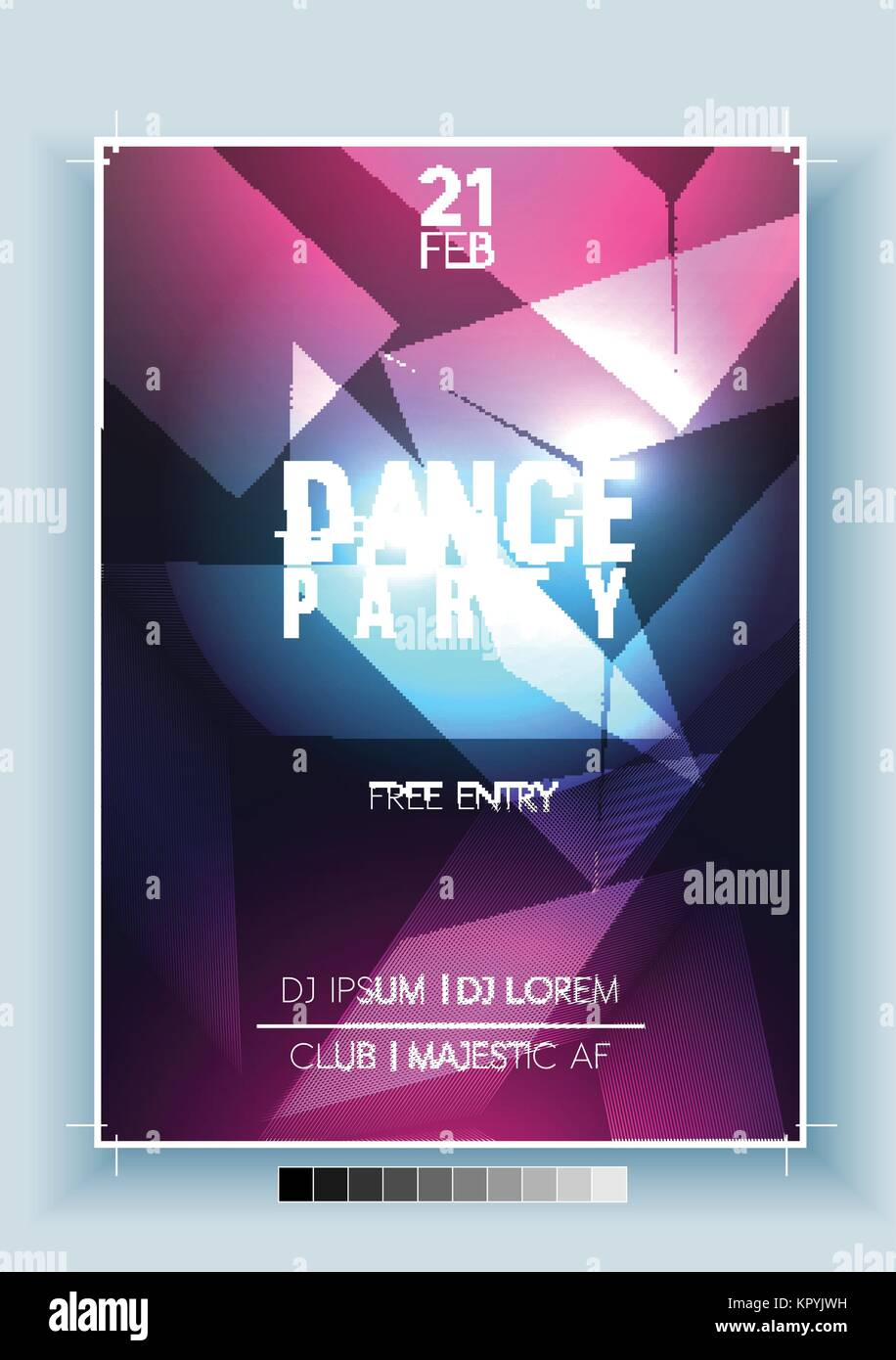 abstract dance party night poster flyer template vector stock