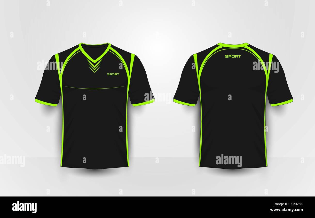 Black And Green Sport Football Kits Jersey T Shirt Design Template