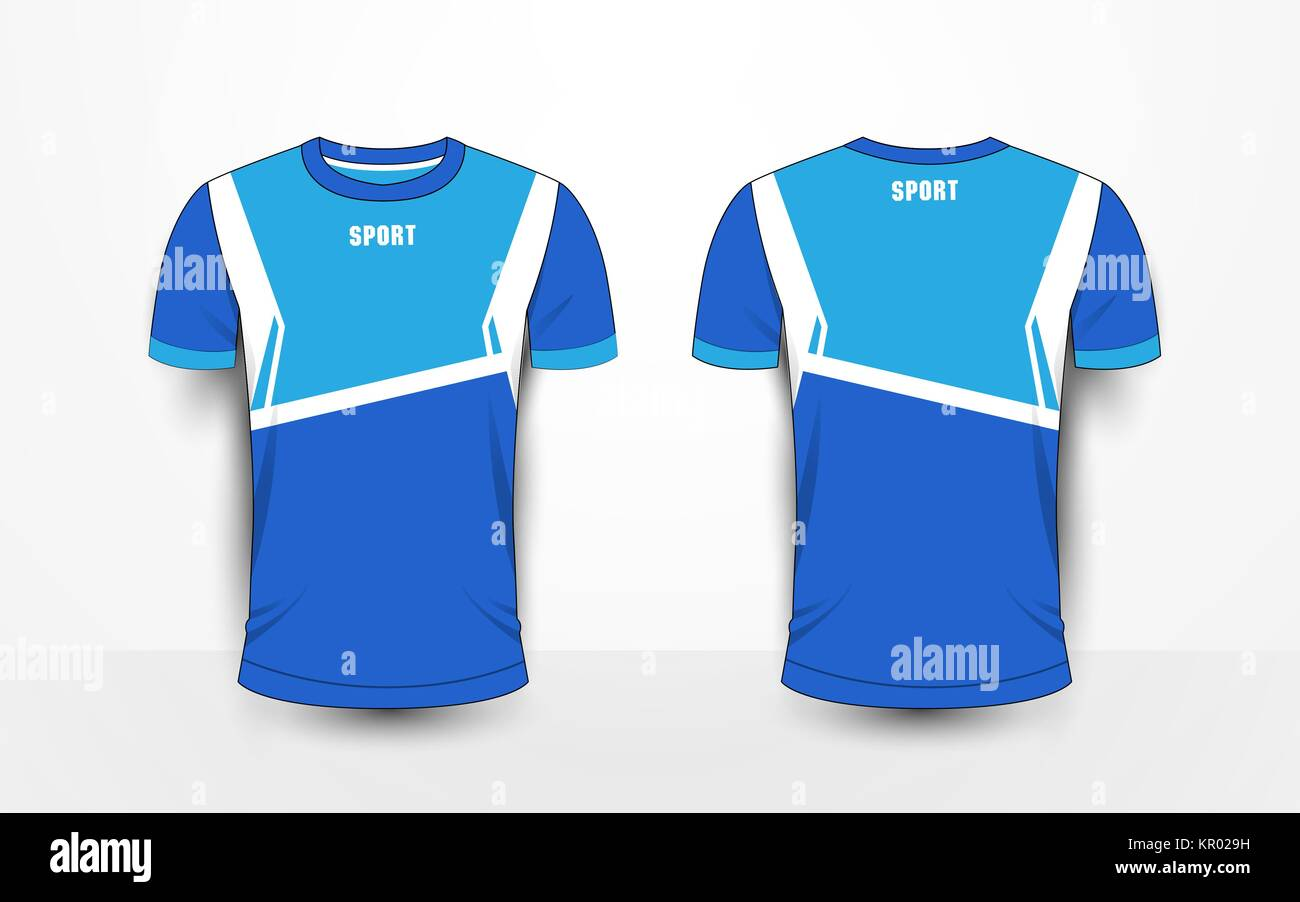 Blue And White Sport Football Kits Jersey T Shirt Design Template
