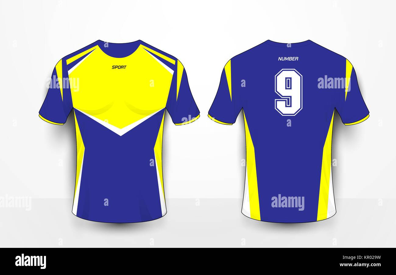 Blue And Yellow Sport Football Kits Jersey T Shirt Design Template