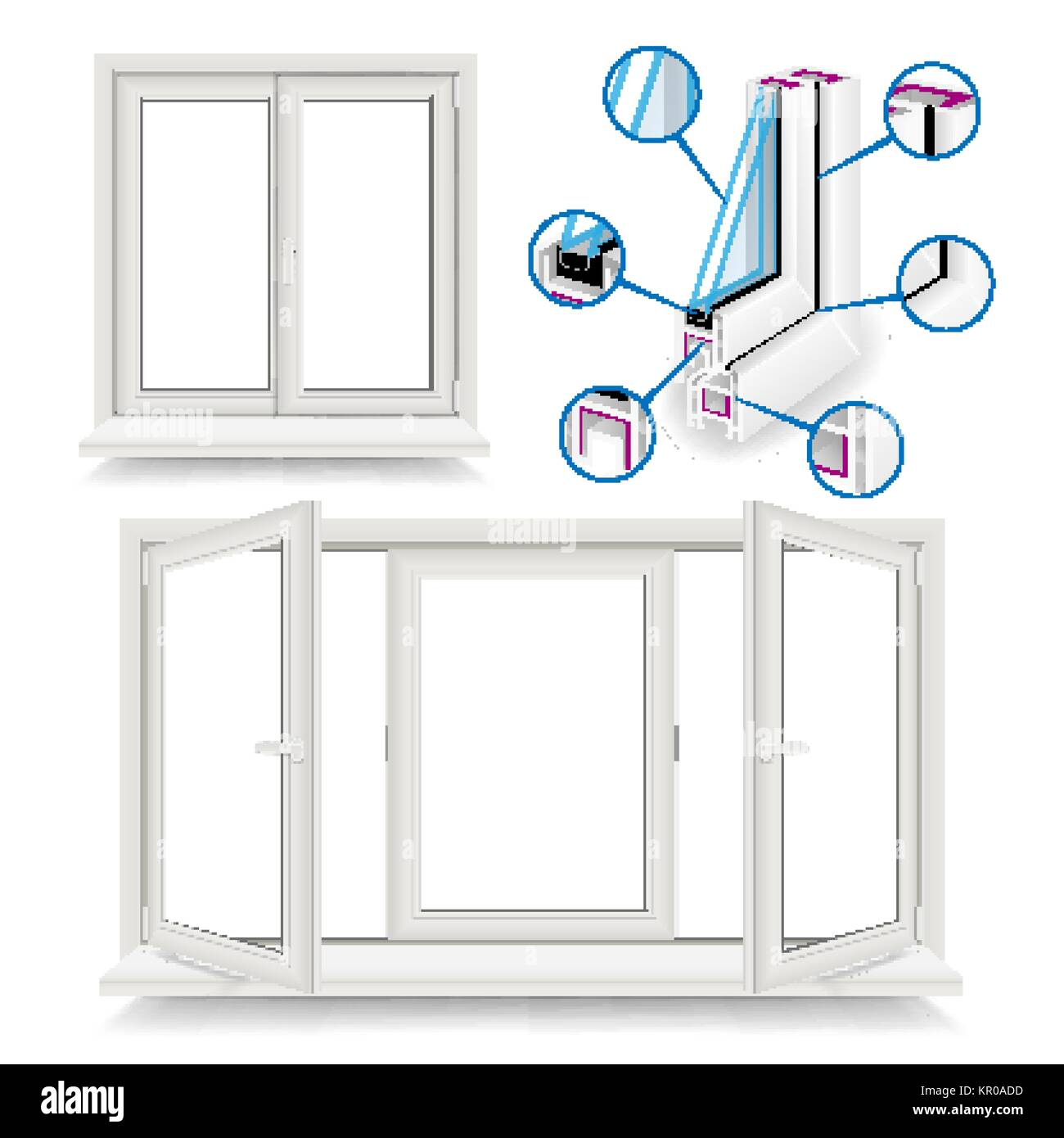 Plastic Window Vector. Infographic Template. Plastic Window Frame ...