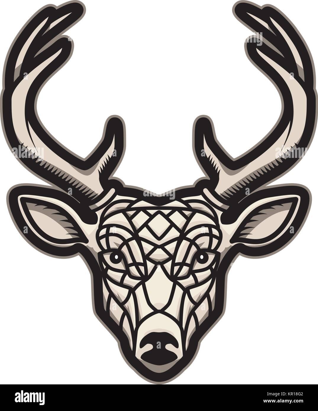 Deer Head Icon Isolated On White Background Design Element For Logo Label Emblem Sign Poster Vector Illustration