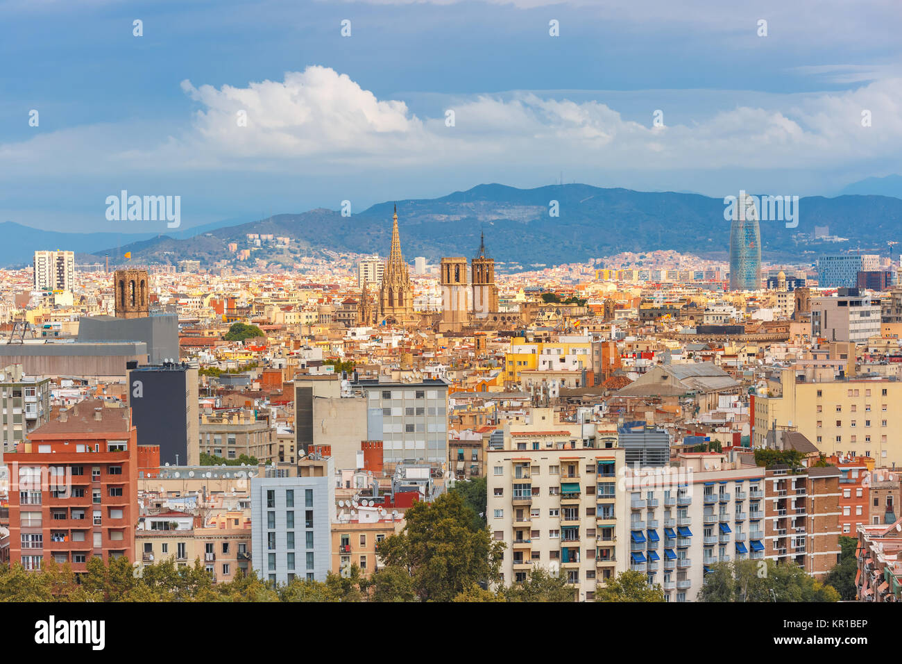 Aerial View Of Barcelona Catalonia Spain Stock Photo 169061390