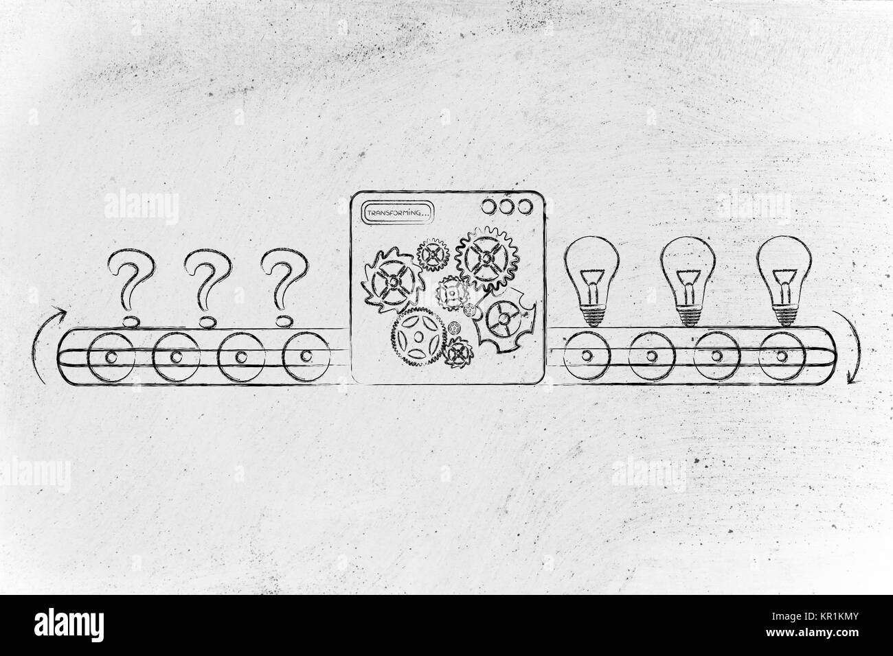 From Doubts Question Marks To Ideas Factory Illustration Stock