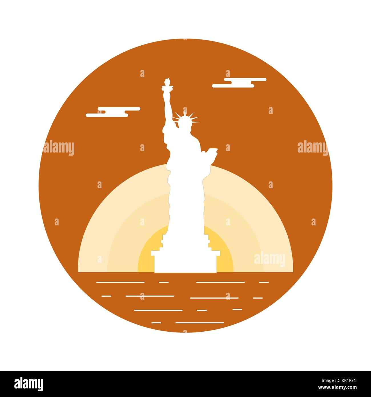 Copper sculpture stock vector images alamy statue of liberty sun and clouds new york landmark american symbols buycottarizona Image collections