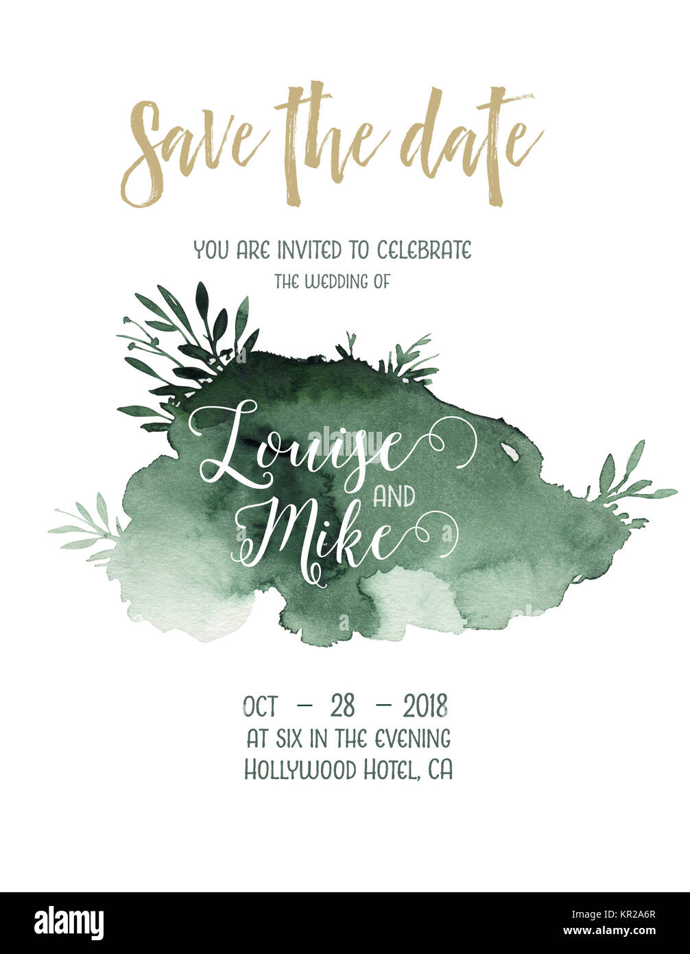 Watercolor greenery color wedding invitation card with green and ...