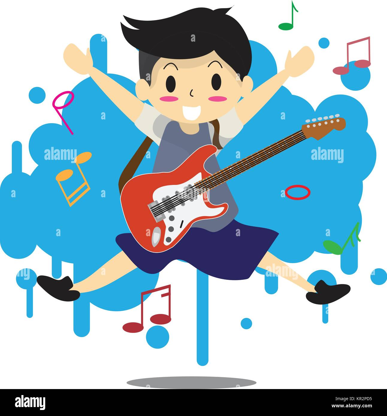 Young Boy Playing Electric Rock Guitar Happy Love Music Abstract Background Character Design Illustration Vector In Cartoon Style