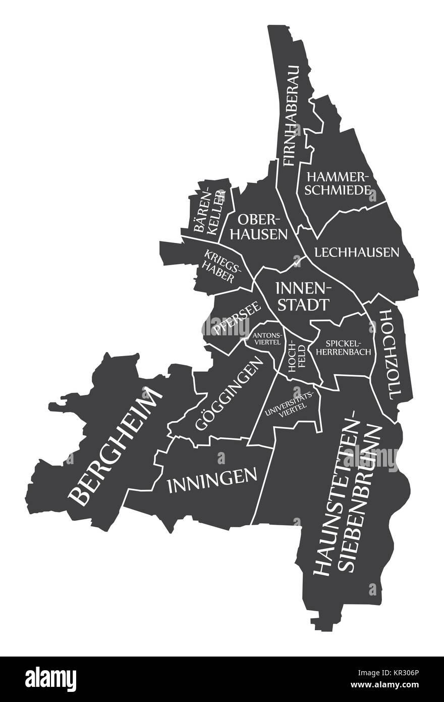 Augsburg City Map Germany DE labelled black illustration Stock
