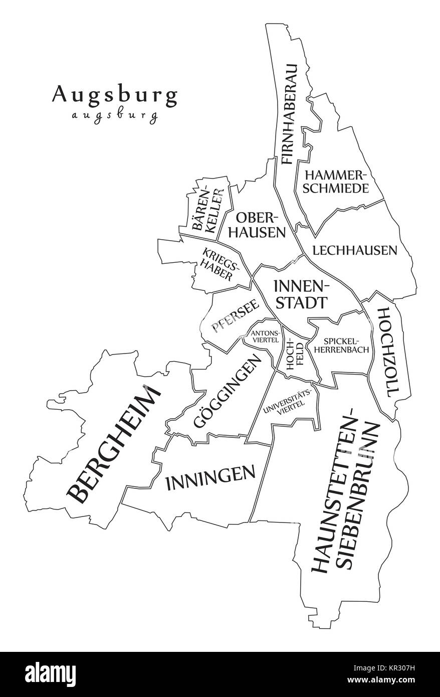 Modern City Map Augsburg city of Germany with boroughs and titles