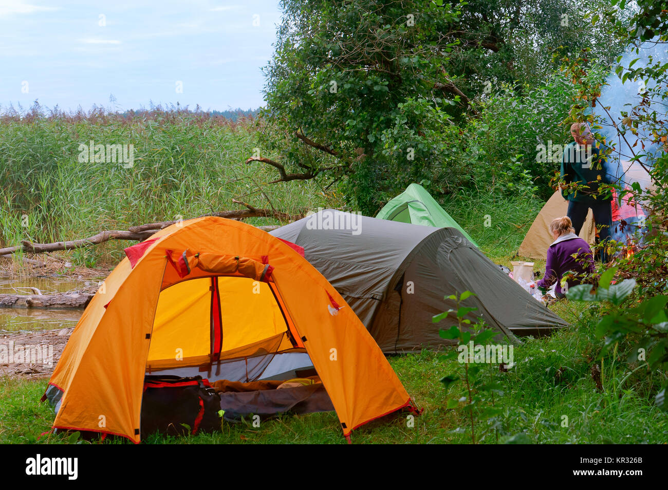 summer holidays in tents tourist tents in the forest near a lake & summer holidays in tents tourist tents in the forest near a lake ...