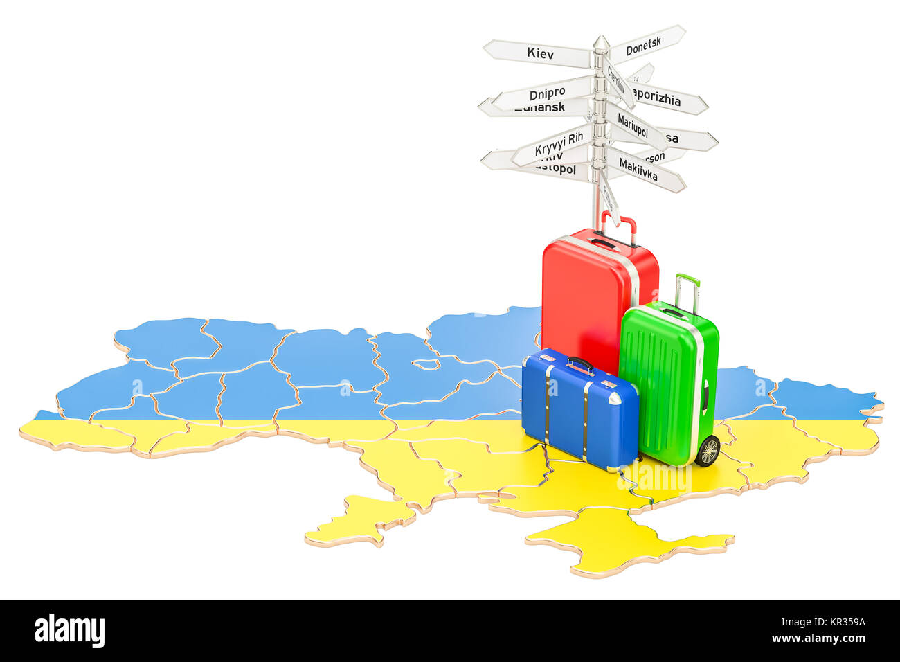 Ukraine travel concept Ukrainian map with suitcases and signpost