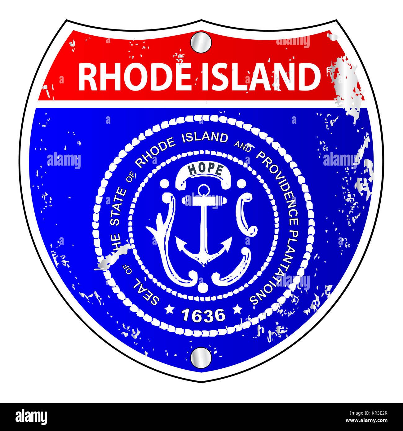 Rhode island flag stock photos rhode island flag stock images rhode island flag icons as interstate sign stock image biocorpaavc Choice Image