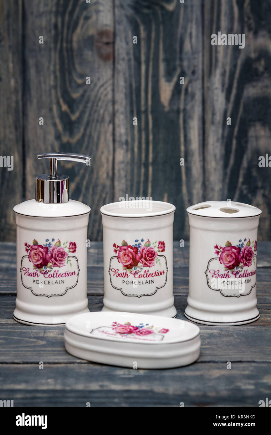 Set of Cute White Bathroom Accessories with Flower Design Stock ...