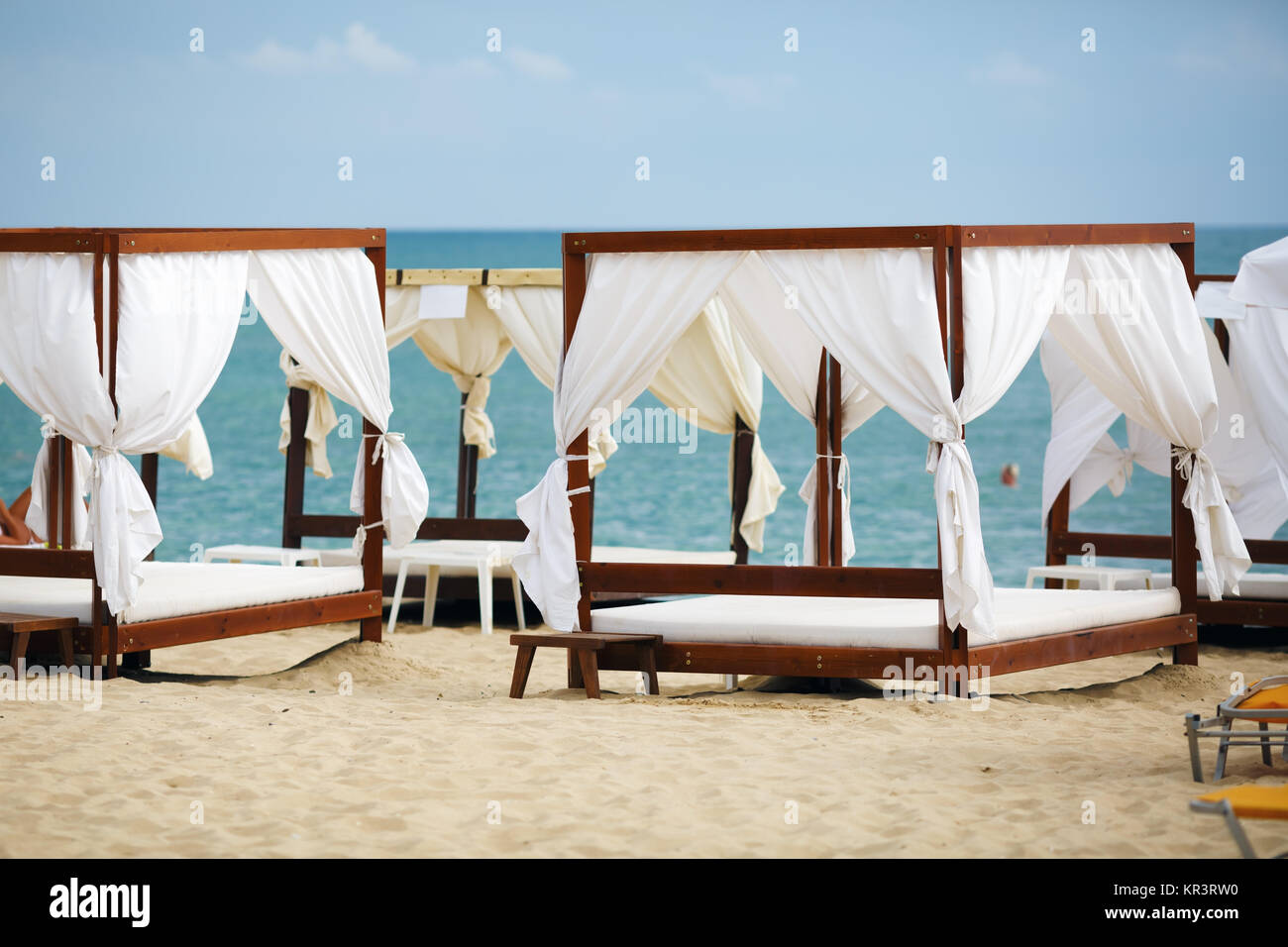 White beach canopies & White beach canopies Stock Photo Royalty Free Image: 169114988 ...