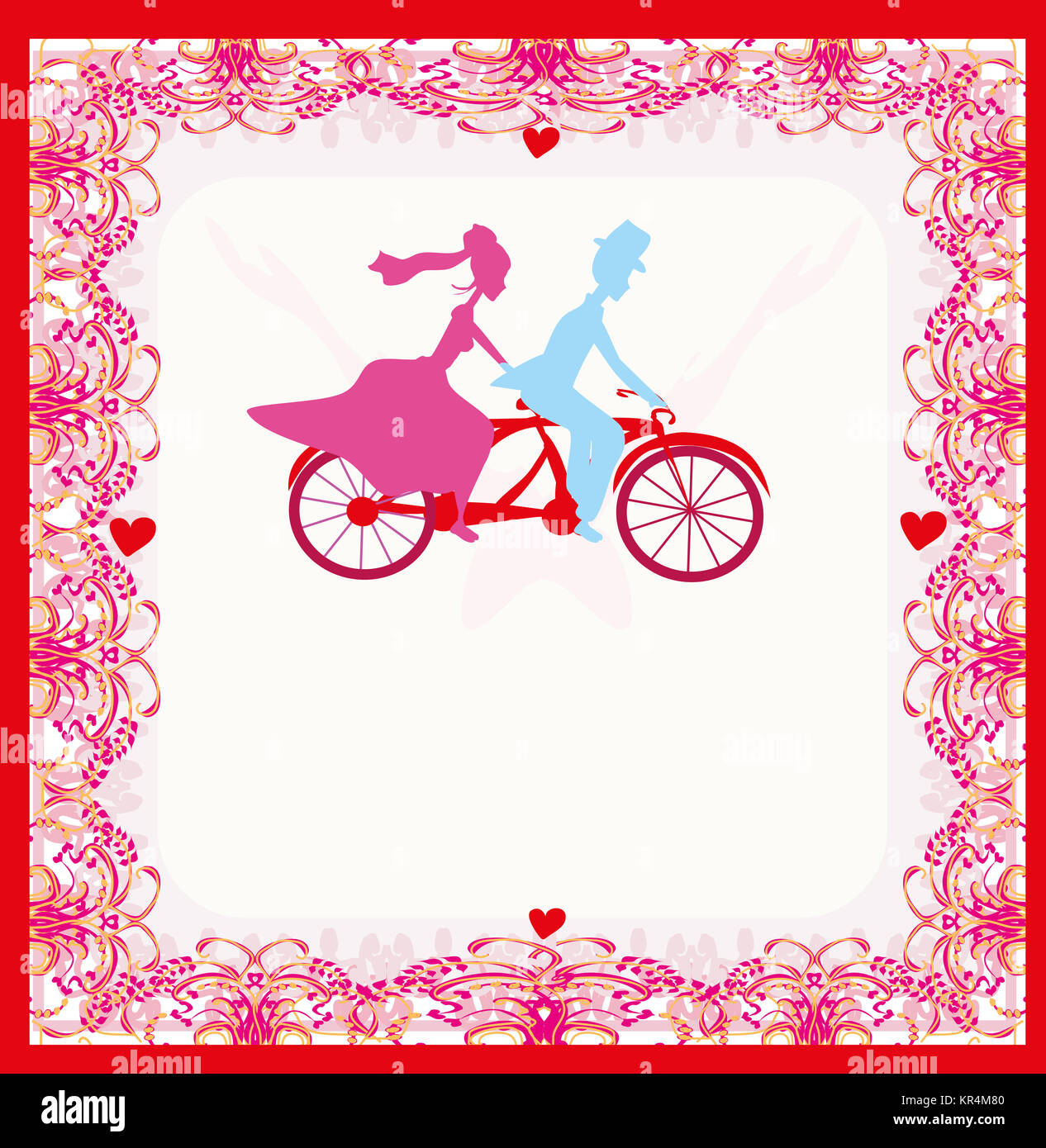 wedding invitation with bride and groom riding a tandem bicycle ...