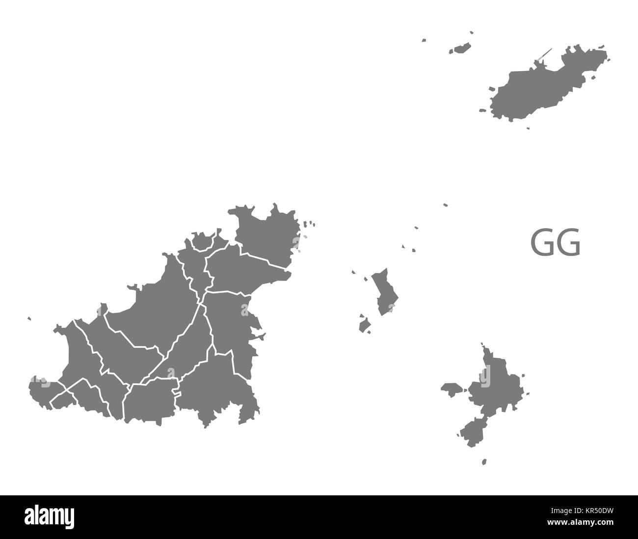 Guernsey parishes Map grey Stock Photo Royalty Free Image