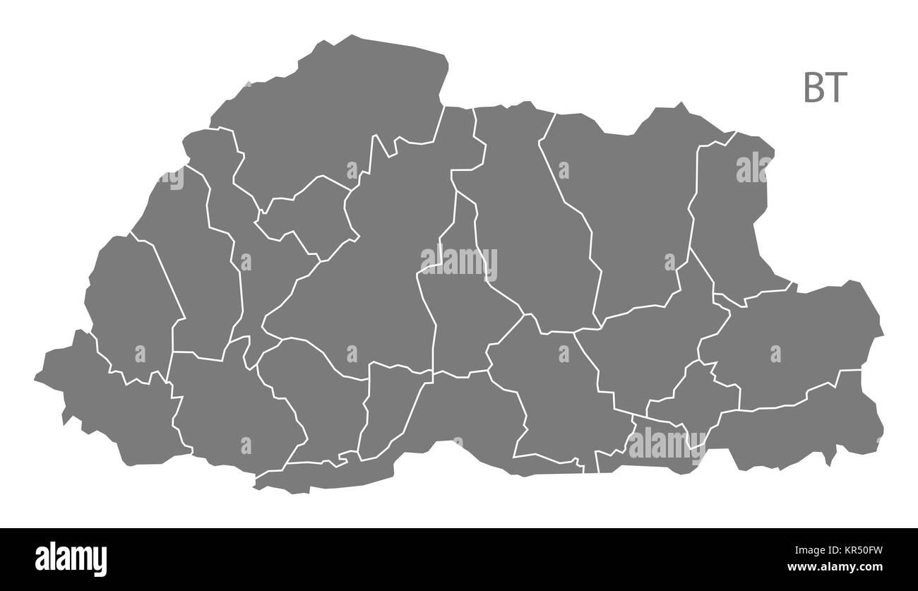 Bhutan Map Stock Photos Bhutan Map Stock Images Alamy - Map of bhutan with districts