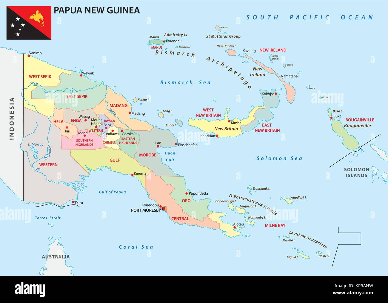 papua new guinea administrative and political vector map with flag ...