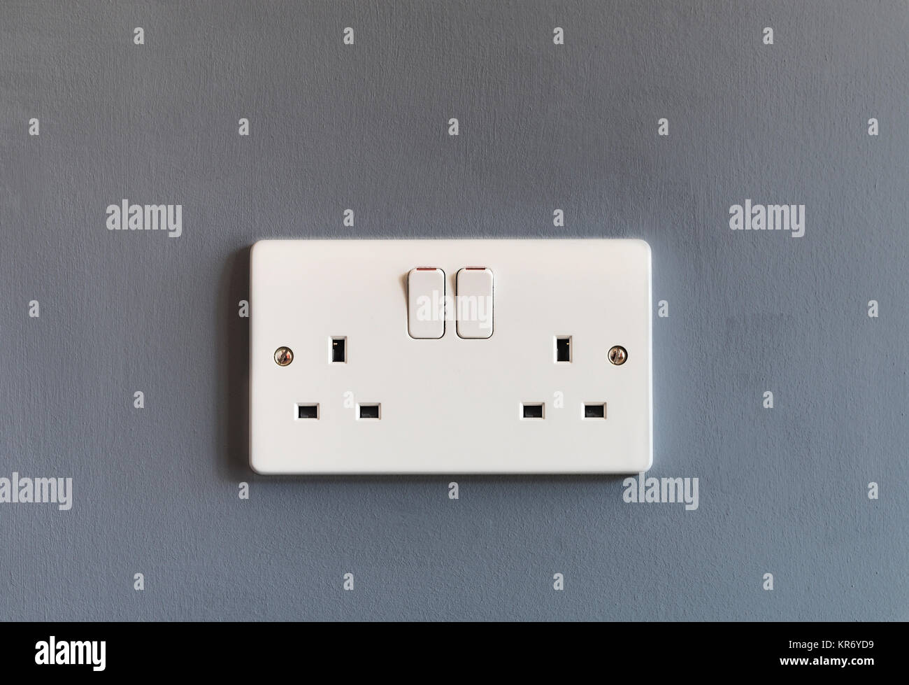 Uk Outlet Wiring Stock Photos Images Alamy Wall Socket Domestic 3 Pin Double Plug Electrical In White Plastic On A Grey Coloured