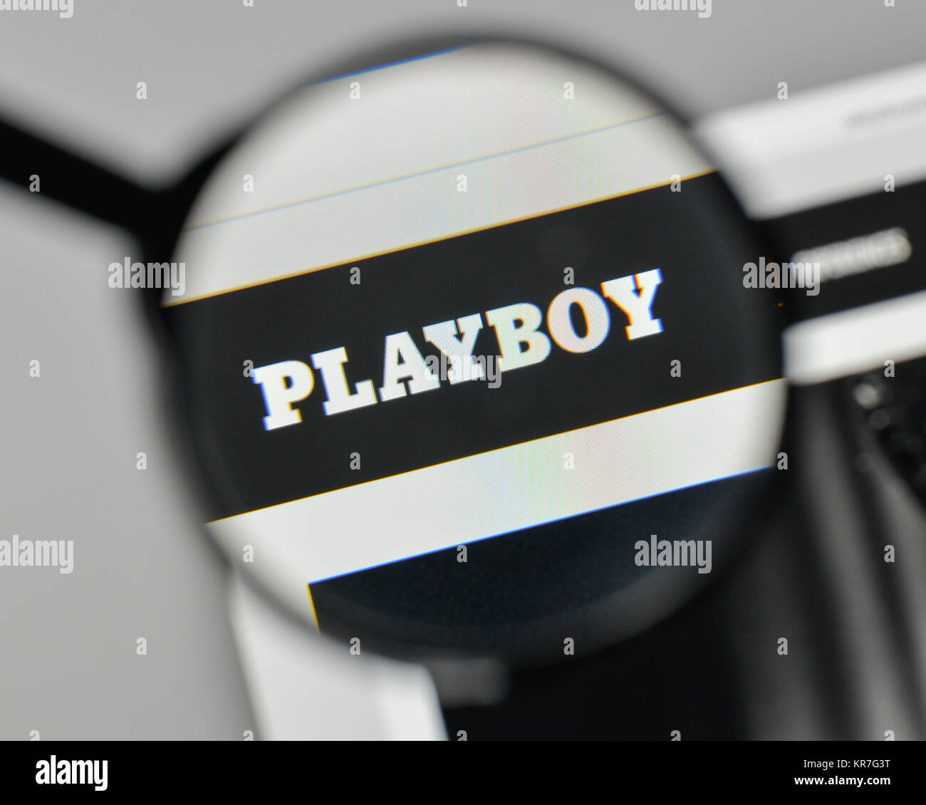 Playboy symbol stock photos playboy symbol stock images alamy milan italy november 1 2017 playboy logo on the website homepage biocorpaavc Gallery
