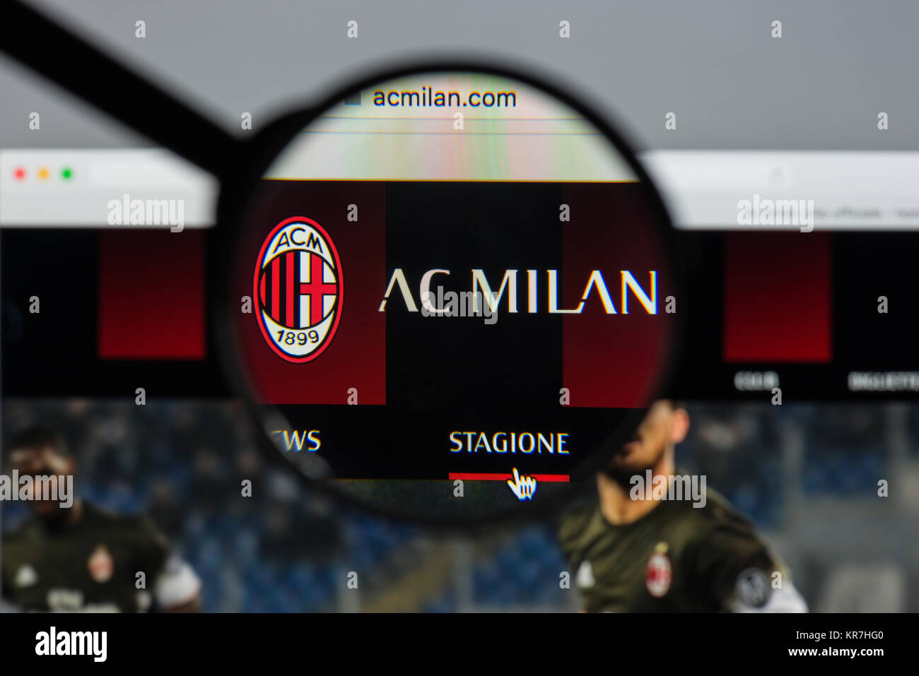 Milan Italy August   Ac Milan Website Homepage It Is A Professional Football Club In Milan Italy Founded In  Ac Milan Logo Visible