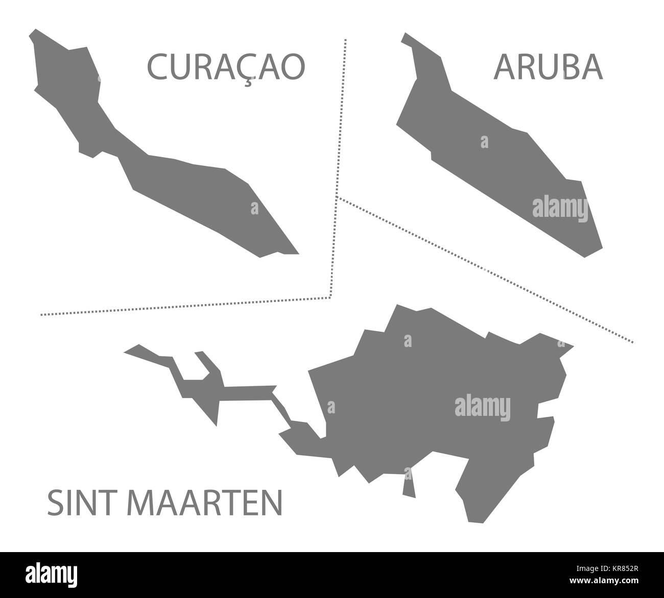 Curacao Aruba Sint Maarten Islands Netherlands Map grey Stock