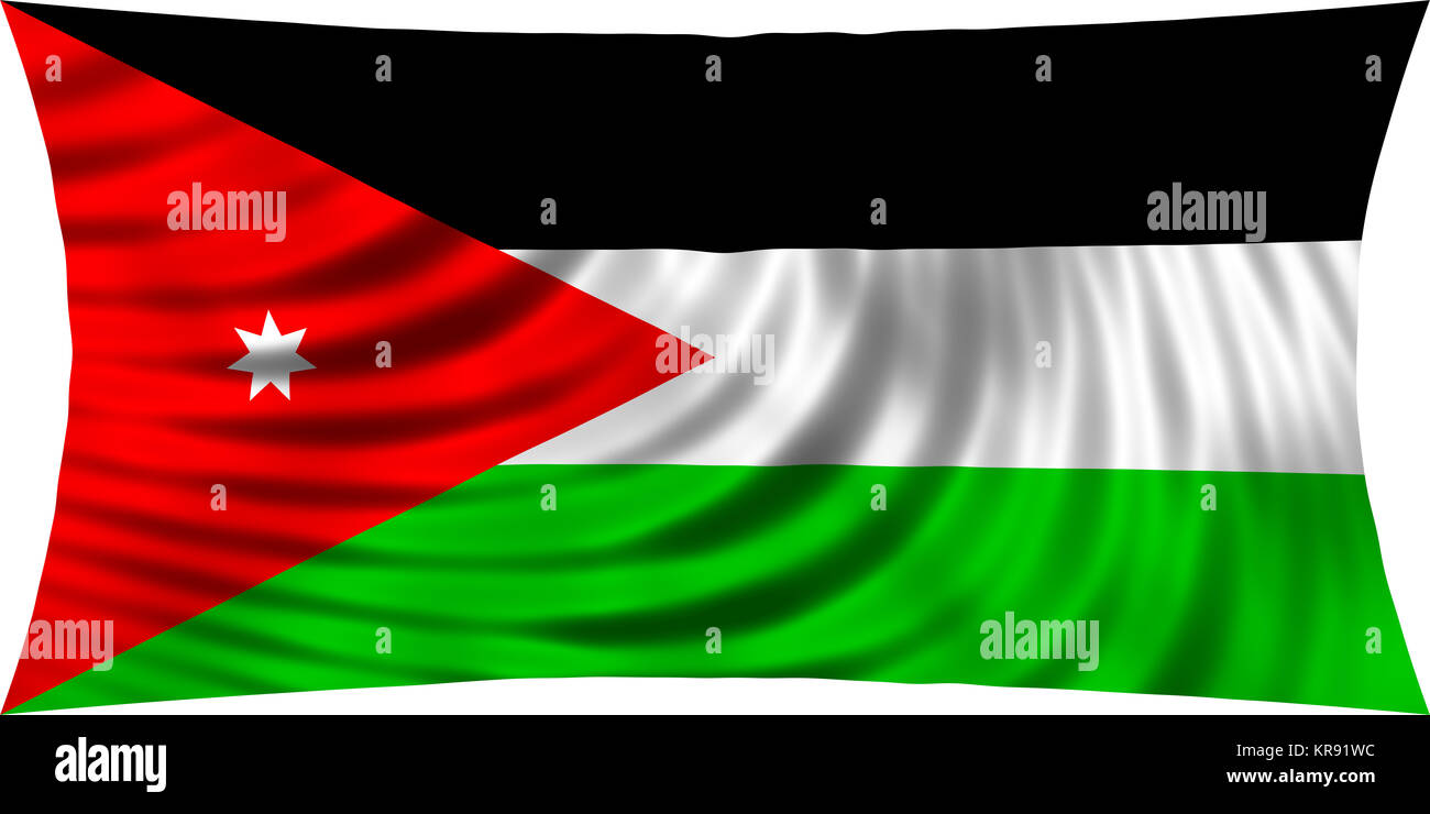 flag of jordan waving in wind isolated on white stock photo