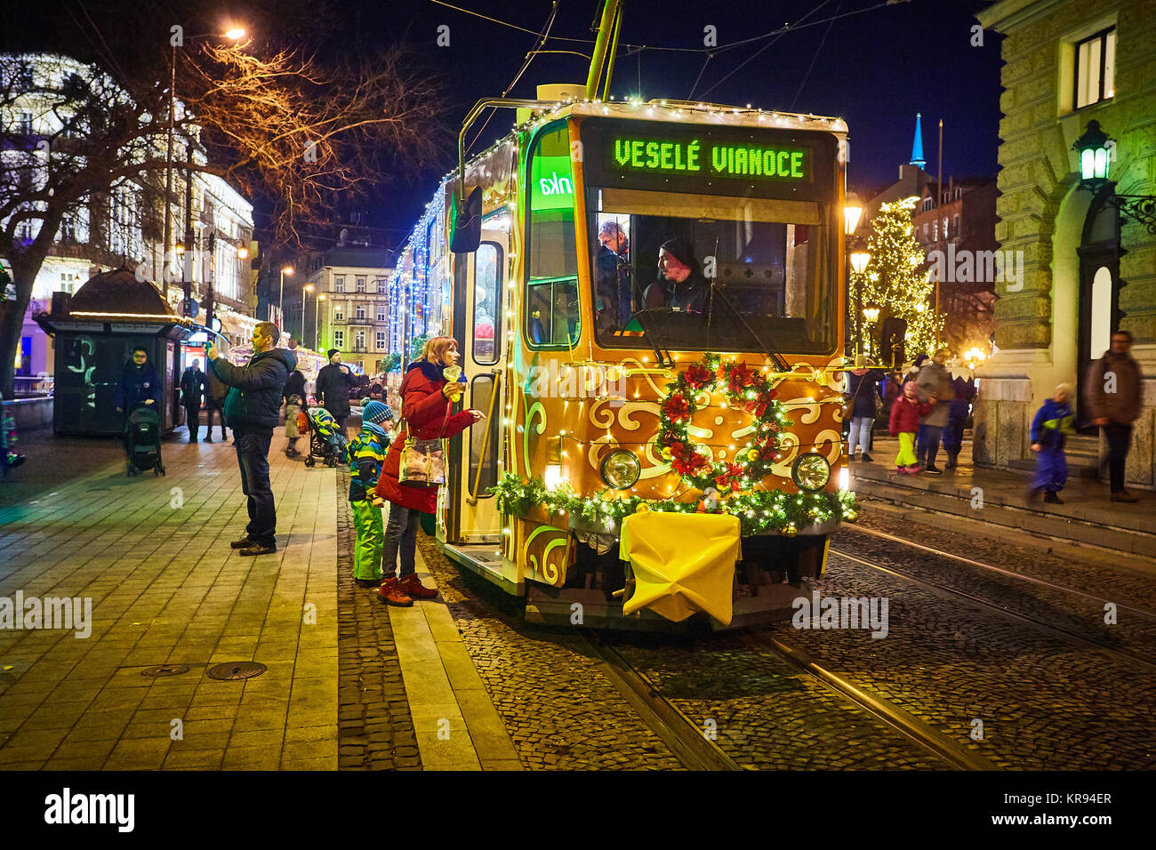 Tram with christmas decoration stock photos tram with for Christmas decoration 94