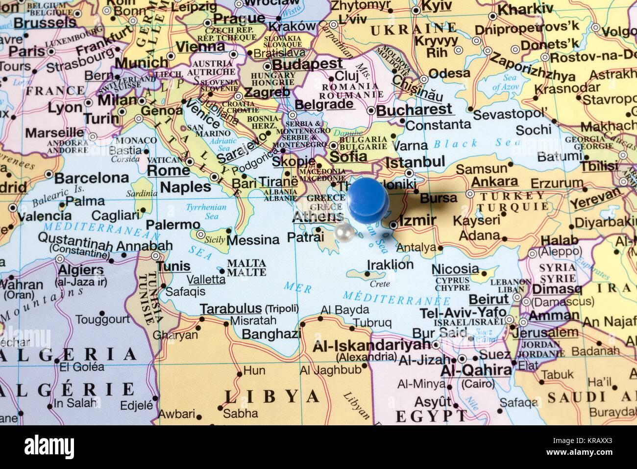 Blue push pins on world map stock photo royalty free image blue push pins on world map sciox Choice Image