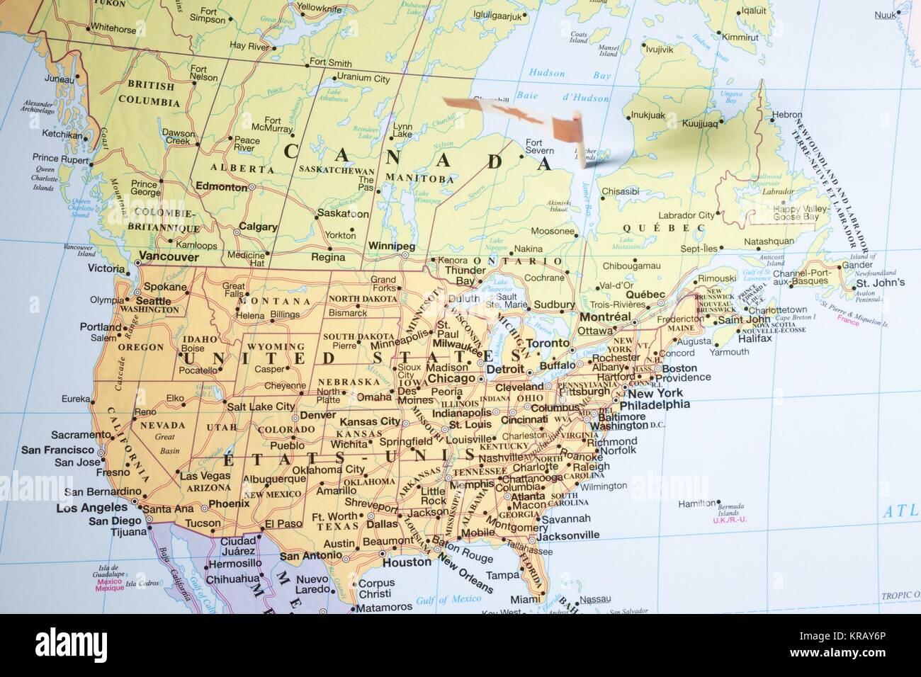 Close Up Shot Of United States Map Stock Photo 169271278 Alamy - Us-map-close-up