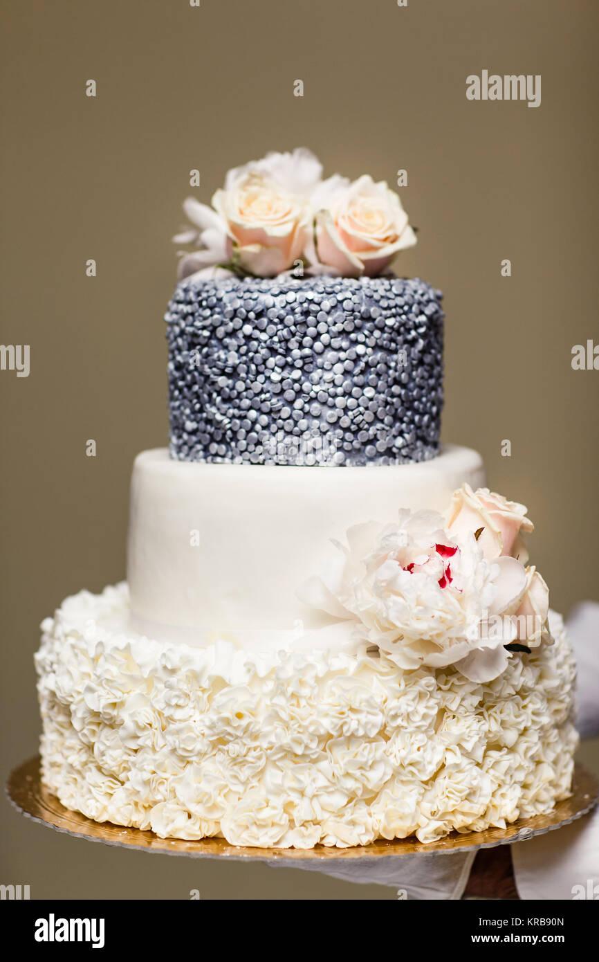 Multi Level Wedding Cake With Pink Flowers Stock Photo 169278949