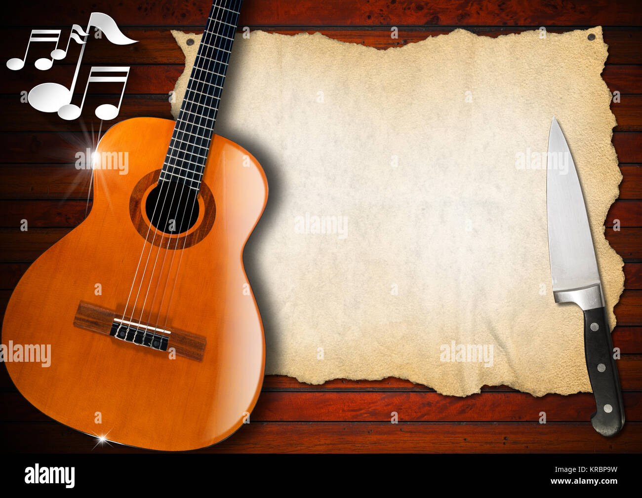 acoustic guitar on wooden wall with empty parchment musical notes