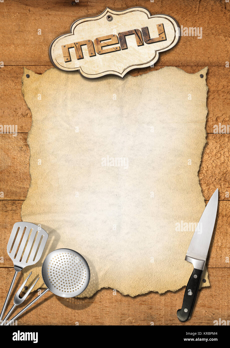 wooden boards with empty parchment and kitchen utensils template