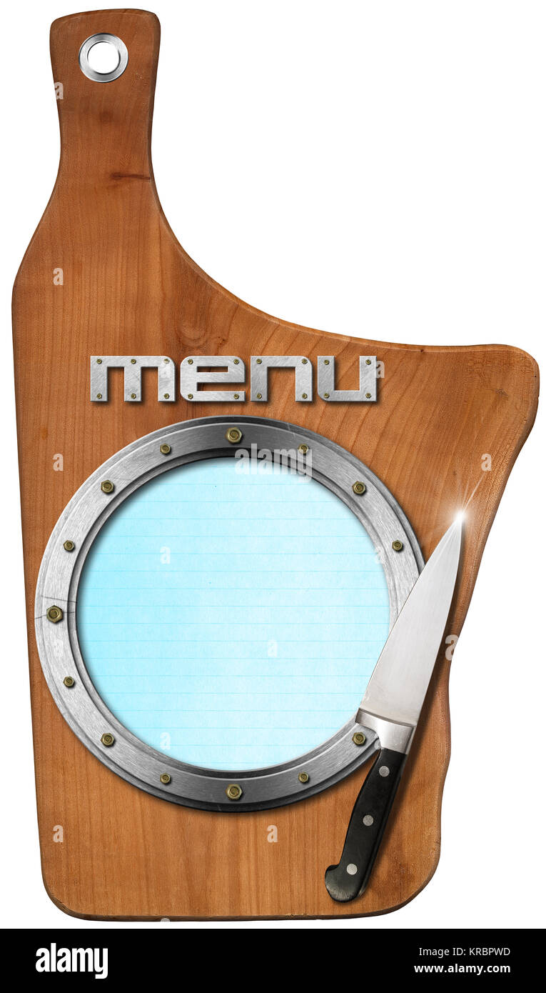 wooden cutting board empty metal porthole and kitchen knife stock
