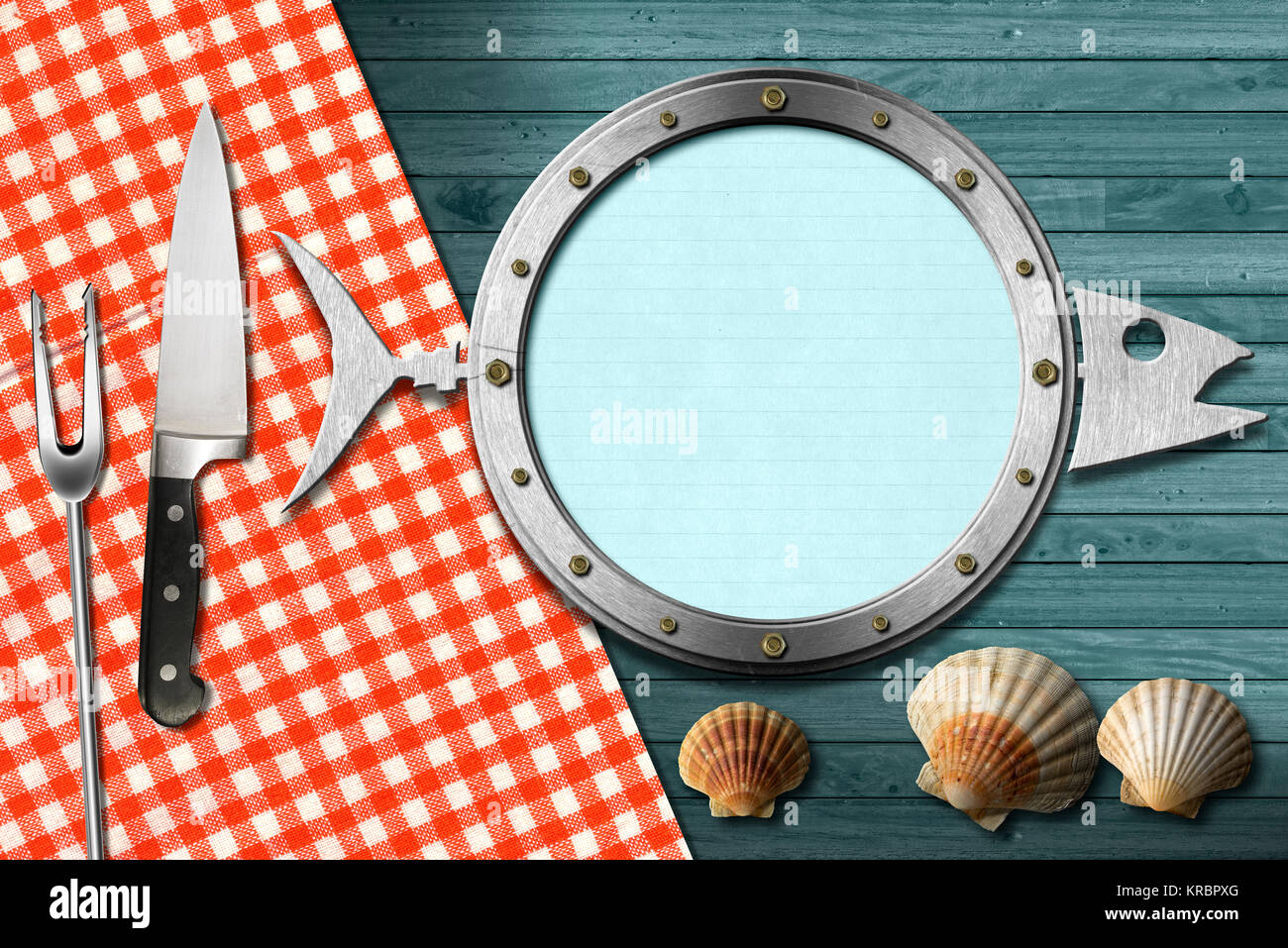 Restaurant seafood menu with metal porthole, kitchen utensils Stock ...