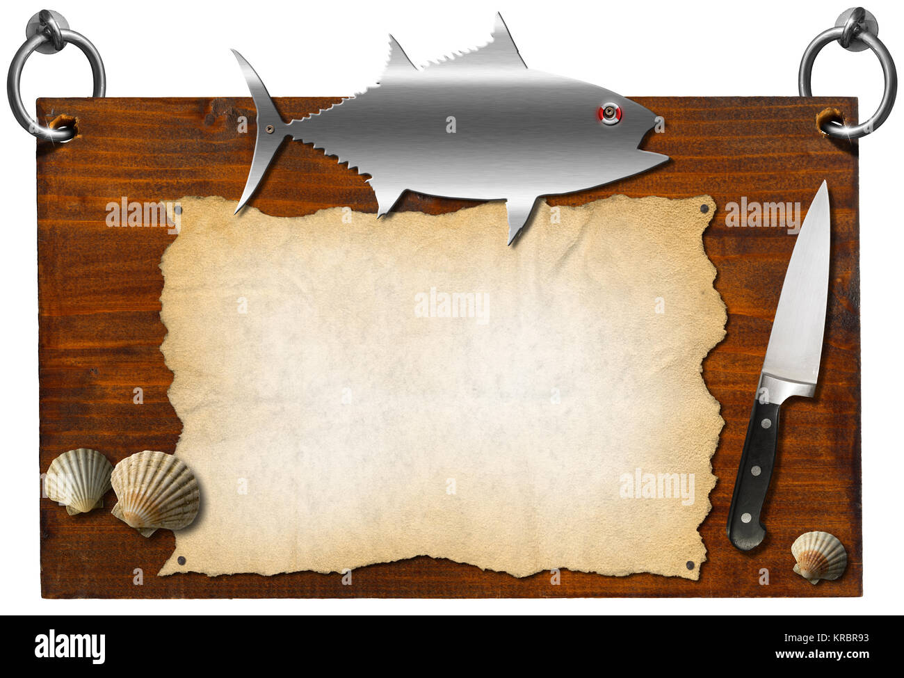 wooden dark brown signboard with metal fish and kitchen knife stock
