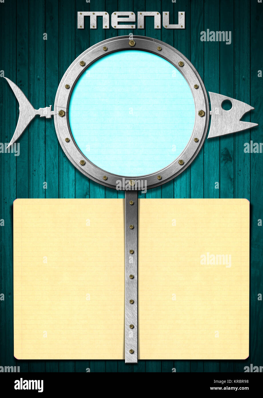 restaurant fish menu with metal porthole and yellow empty pages