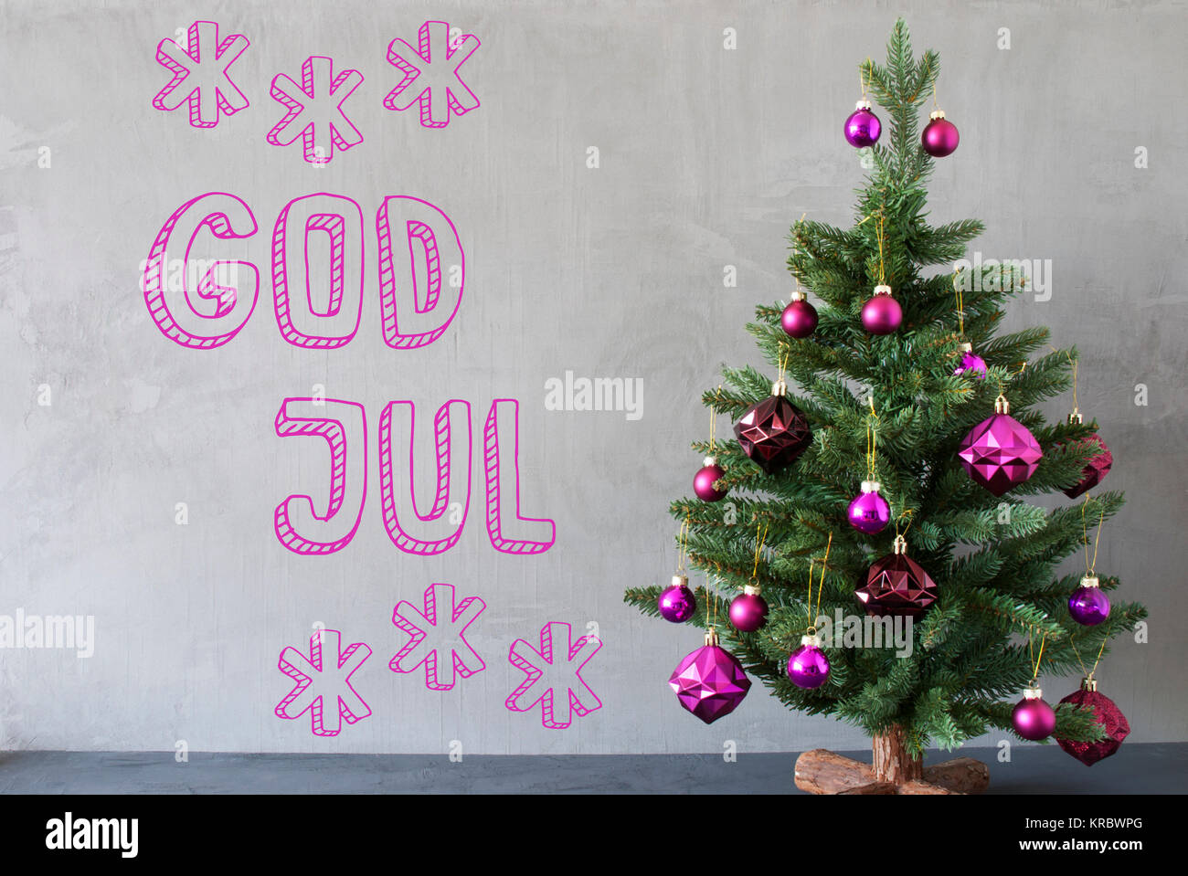 Christmas tree with purple christmas tree balls card for seasons card for seasons greetings gray cement or concrete wall for urban modern industrial styl swedish text god jul means merry christmas kristyandbryce Choice Image