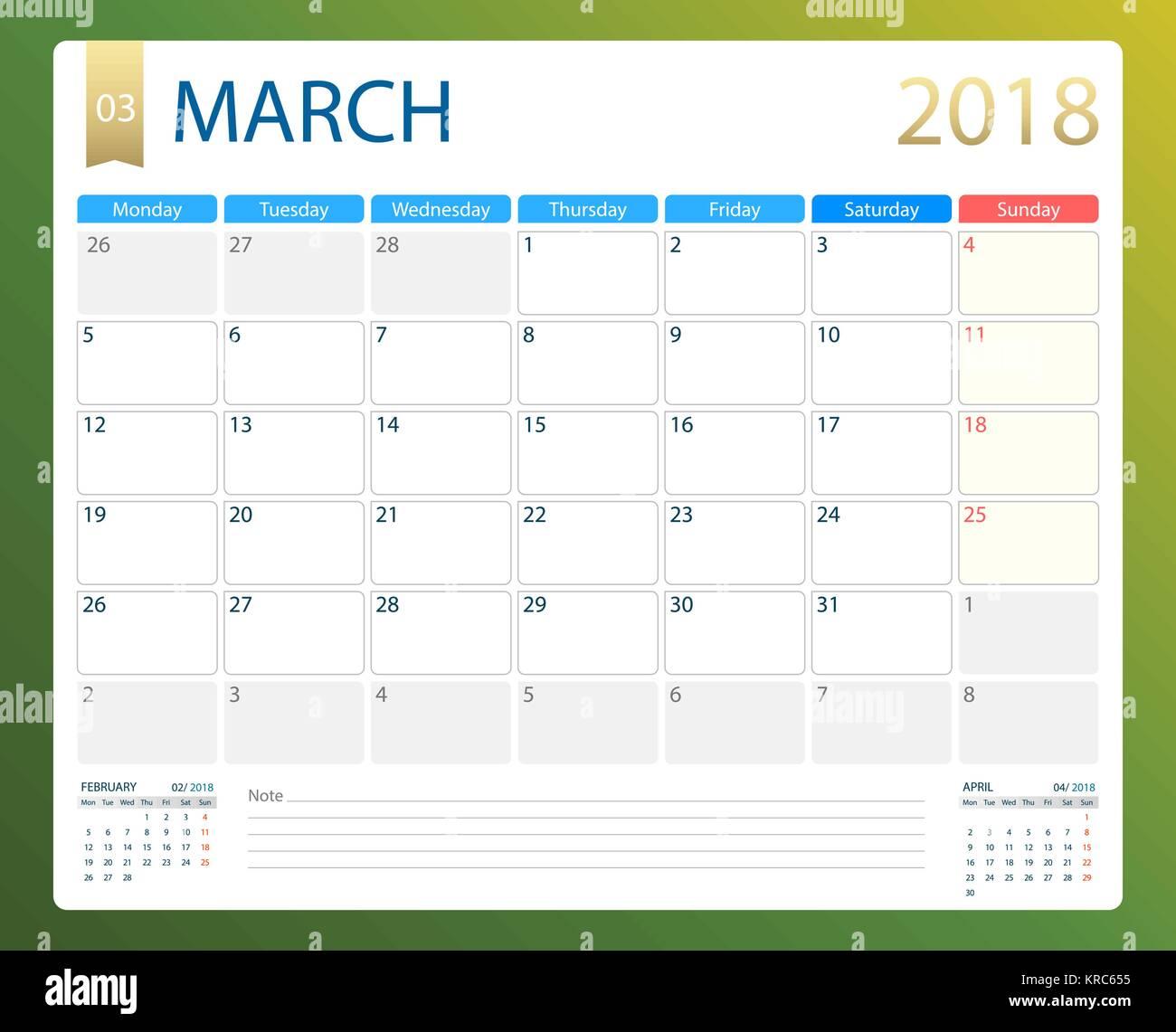 March 2018 Illustration Vector Calendar Or Desk Planner Weeks