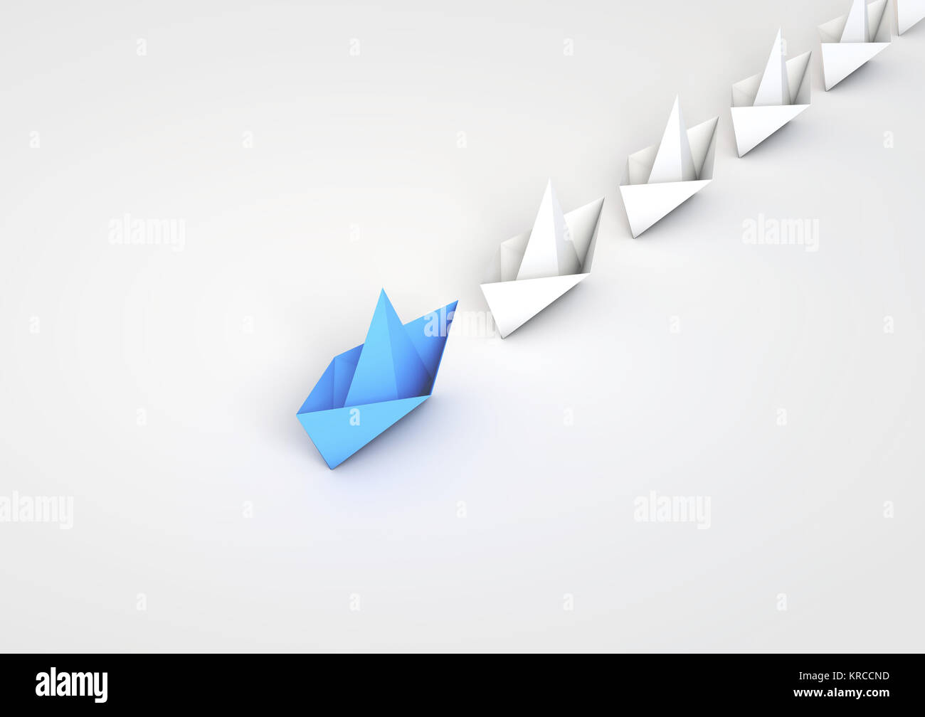 Origami Boats Leadship Concept 3d Rendering Stock Photo 169303833