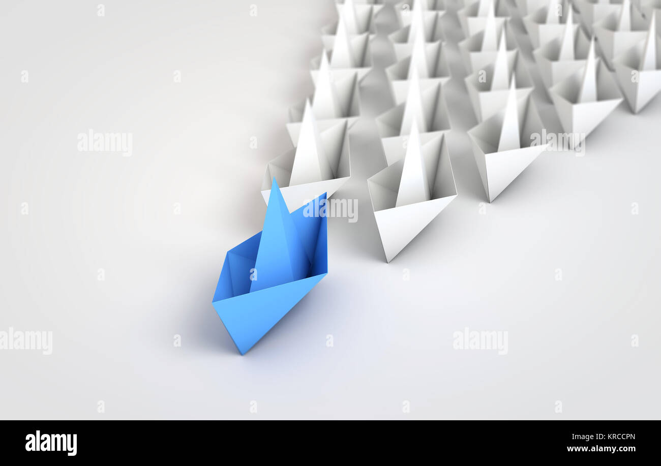 Origami Boats Leadship Concept 3d Rendering Stock Photo 169303869