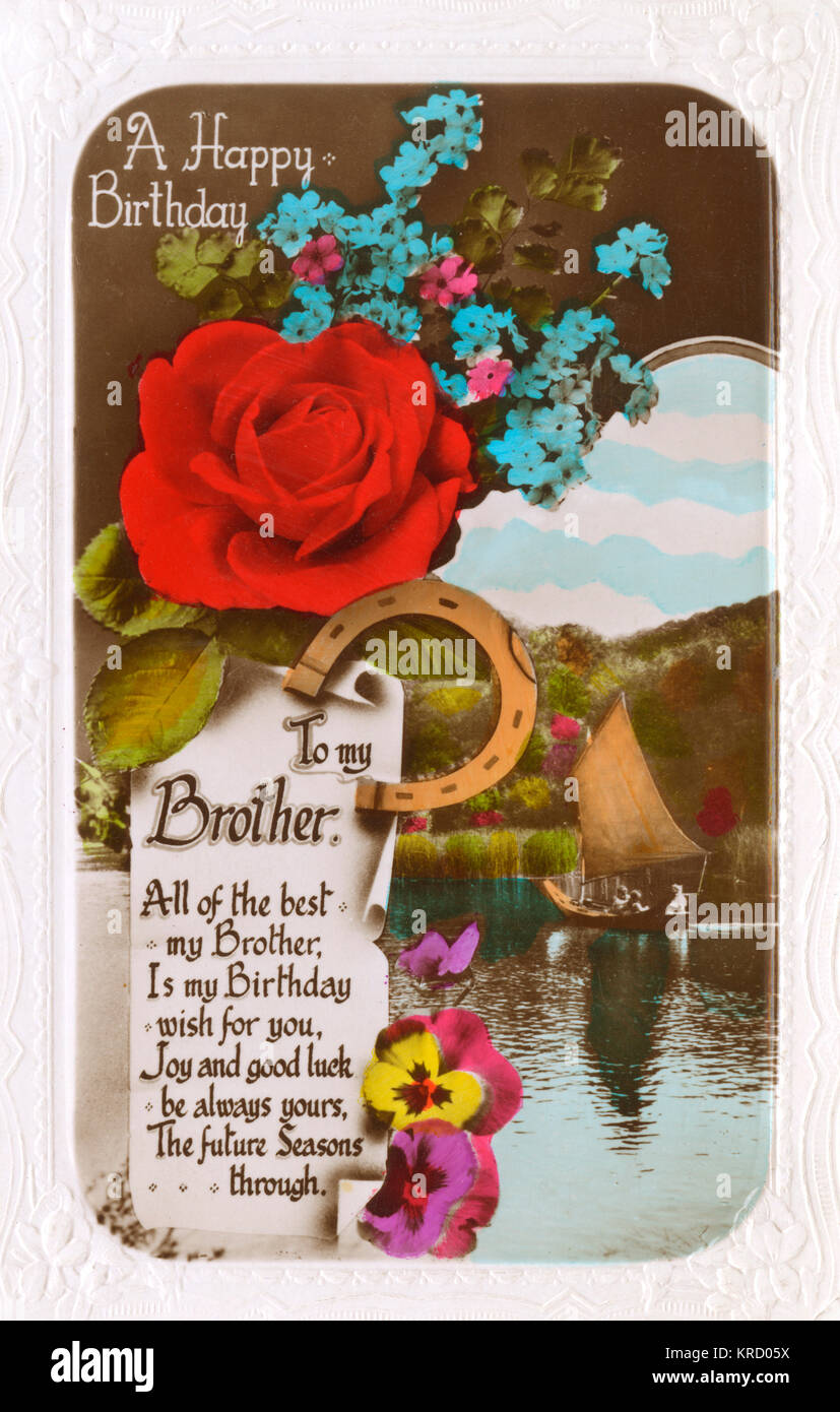 A Happy Birthday To My Brother Card With Red Rose Blue Forget Me Nots Assorted Pansies And Horseshoe Sailing Boat On Lake In The