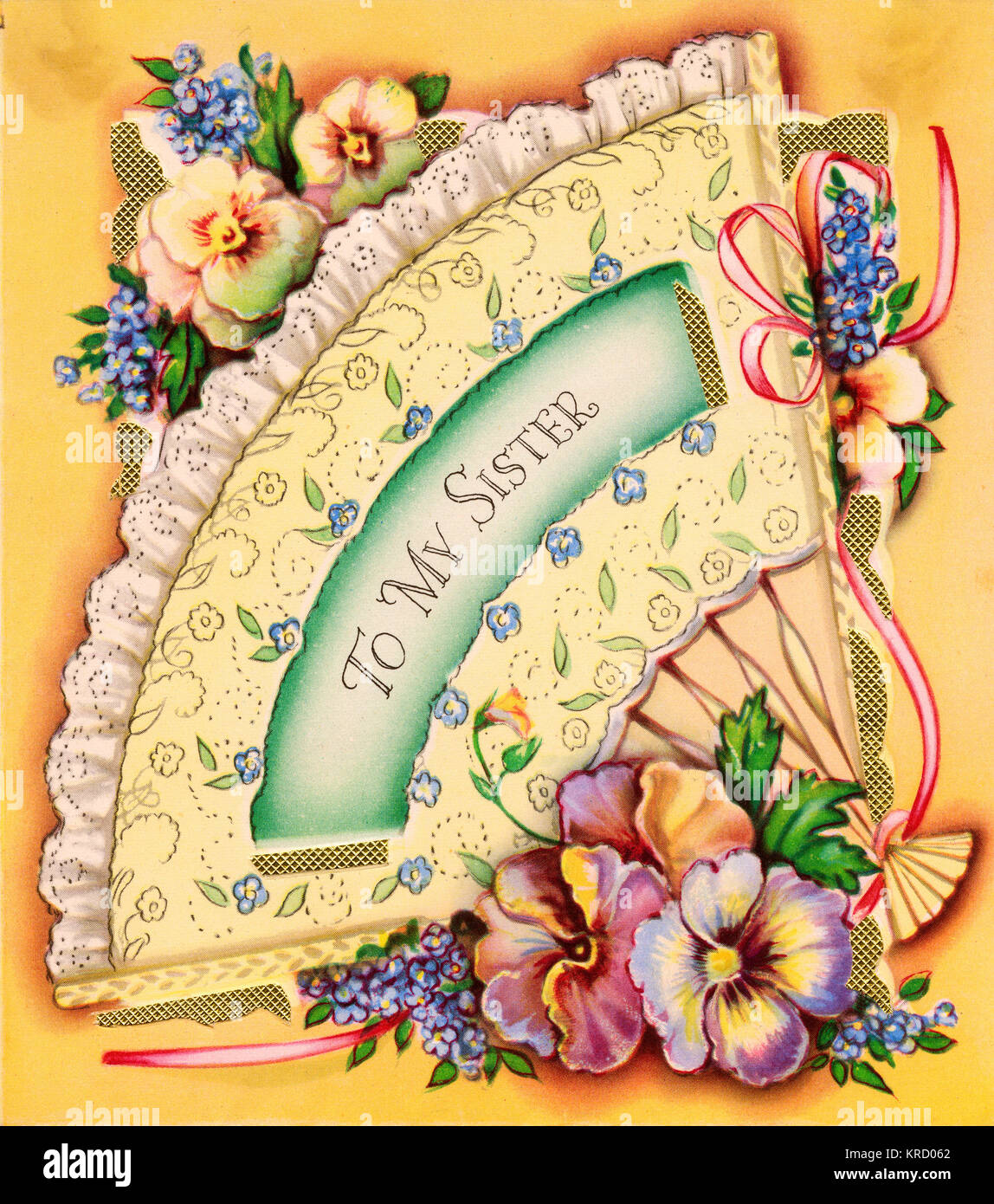 To my sister birthday card with a decorated fan variegated pansies to my sister birthday card with a decorated fan variegated pansies and blue forget me nots date circa 1950s bookmarktalkfo Images
