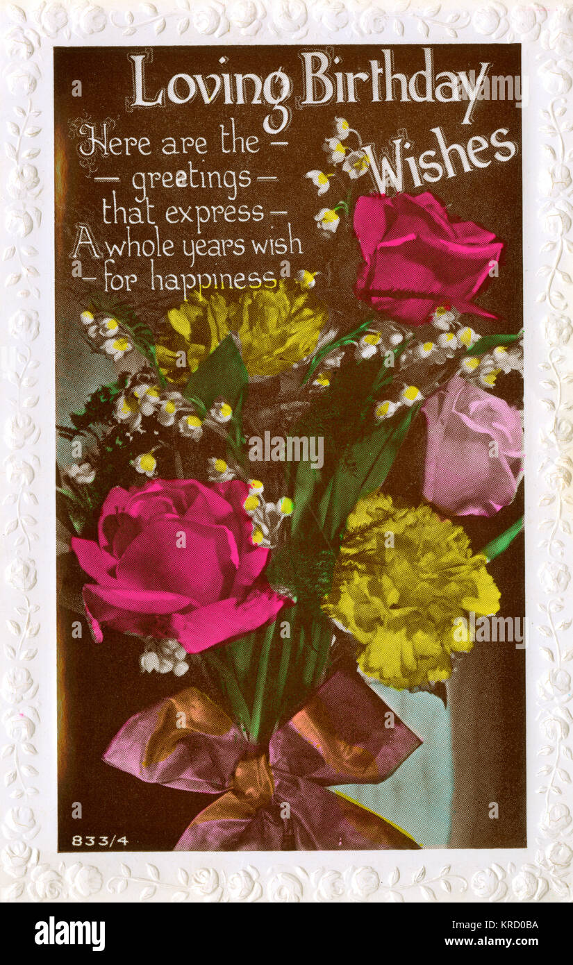 Loving birthday wishes a birthday card with a bunch of roses loving birthday wishes a birthday card with a bunch of roses carnations and lily of the valley tied up in a mauve ribbon date 1936 bookmarktalkfo Gallery