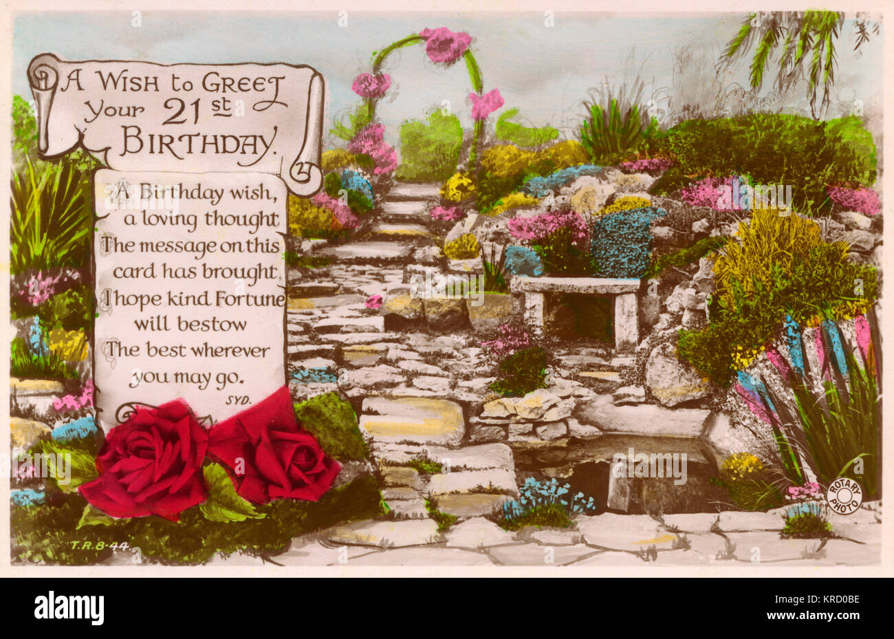 A 21st Birthday Card Showing A Garden Path Decorated With Flowers